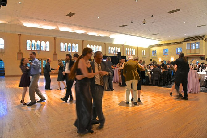 """Dining and dancing at the Gala in the Park on Sunday, May 20 at Glen Echo Park. The night's theme was """"Celebrate History in Our Backyard."""" Proceeds from the gala support arts and educational programs at the park while also supporting the care and maintenance of the park's historic structures, including the Spanish Ballroom and the Dentzel carousel."""