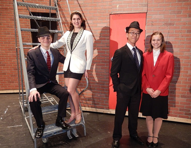 "The romantic couples in Fairfax's ""Guys and Dolls"" are (from left) Hayden Giles and Emily Dillard (as Nathan and Adelaide) and Zion (ZJ) Jang and Tori Garcia (as Sky and Sarah)."