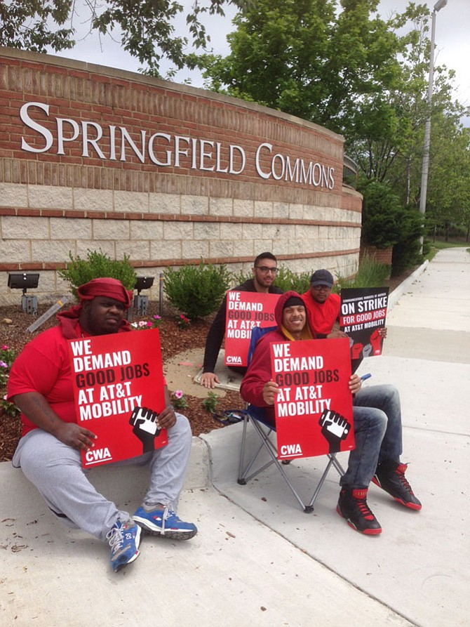 """On Frontier Drive at Springfield Town Center, AT&T employees were striking outside the AT&T store over the weekend May 20-21 as a part of a nationwide strike that encompassed 36 states and 40,000 AT&T employees, said strike coordinator Troy Smith. The strike was aimed at improving their health care benefits, commission plans and the outsourcing of jobs, said Smith, who called it """"corporate greed."""""""