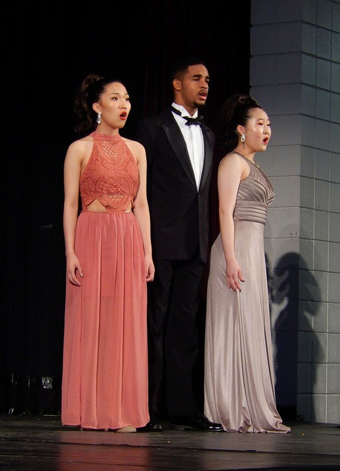 """From left: Alyssa Choi, Jadyn Belmo and Meriel Chang sing """"Somewhere Out There"""" at Chantilly High's 31st annual Jazz & Pizzazz."""