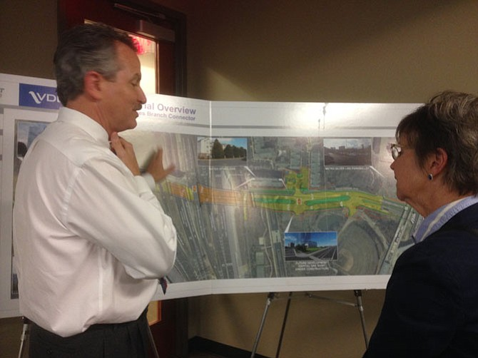 VDOT's District Engineer Bill Cutler explains the new access road at the Pardon Our Dust meeting in Tysons.