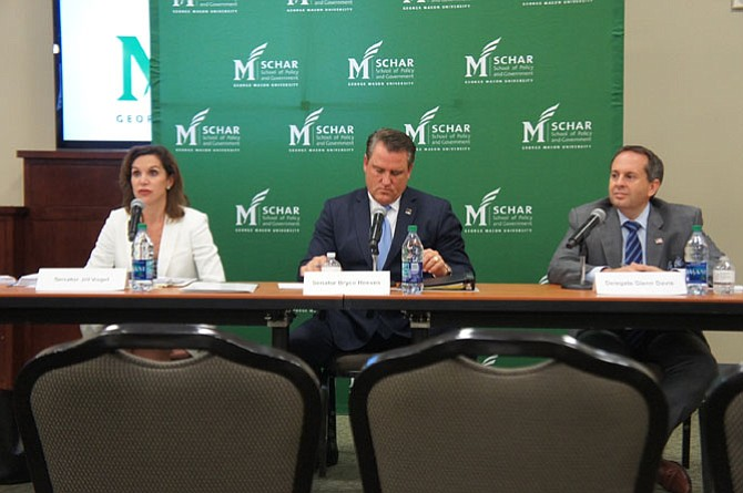 State Sen. Jill Vogel (R-27), Sen. Bryce Reeves (R-27), and Del. Glenn Davis (R-84) answer questions posed at the Lieutenant Governor's Candidate Forum at George Mason University.