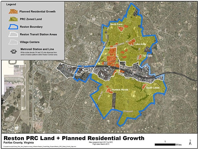 Map 2: After much concern from the community, the Fairfax County Department of Planning and Zoning updated the map to show where the planned high density areas of the PRC District areas are, shown in red within the yellow-green on this map.