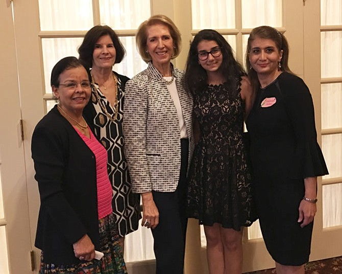 Rose Rasty, a junior at Marshall High School, was presented with the AAUW McLean Area Branch 2017 STEM Excellence Award at its Annual Dinner on May 25. Shown, from left, are Aroona Borpujari, Branch Co-President; Betsy Schroeder, Branch Co-President; Judy Page, Branch STEM Chair; Rose Rasty; and Marjaneh Javdan, Rose's mother.