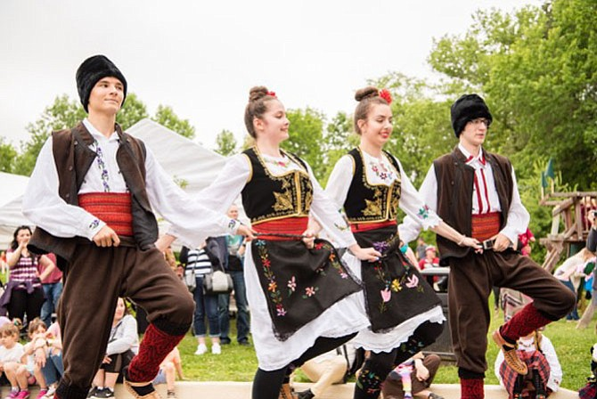 Members of the Academy of Serbian Folk Dancing Association perform at the SerbFest DC Festival.