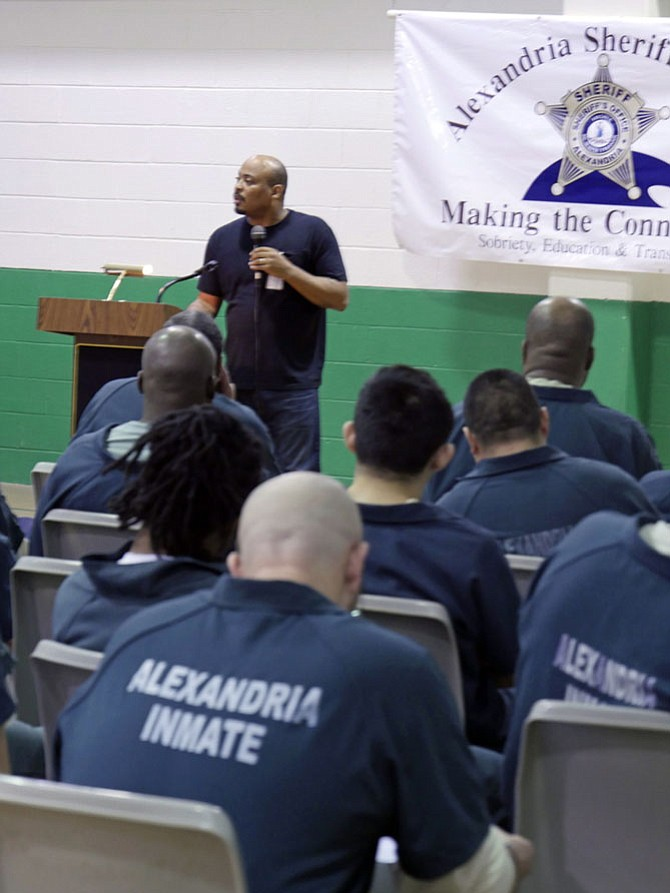 Eddie Ellis, arrested for first-degree murder at 16, tells inmates at the William G. Truesdale Adult Detention Center that one has to want to change.
