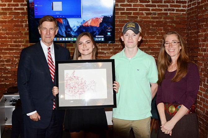 U.S. Rep. Don Beyer, Catherine Owens '19, Cole Early '17, and Upper School Visual Arts Teacher Katherine Elkins