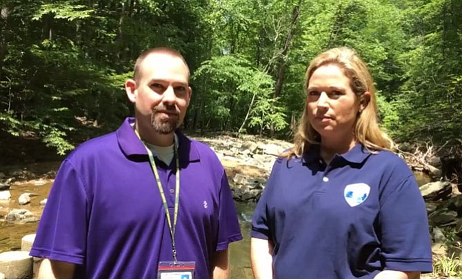 Fairfax County Spokesperson Jeremy Lasich interviews Sara Baldwin, deputy director of the Fairfax County Park Authority, about planned police presence for Scott's Run Nature Preserve in a video posted to the Fairfax County Government Facebook page. It has received more than 3,000 views.
