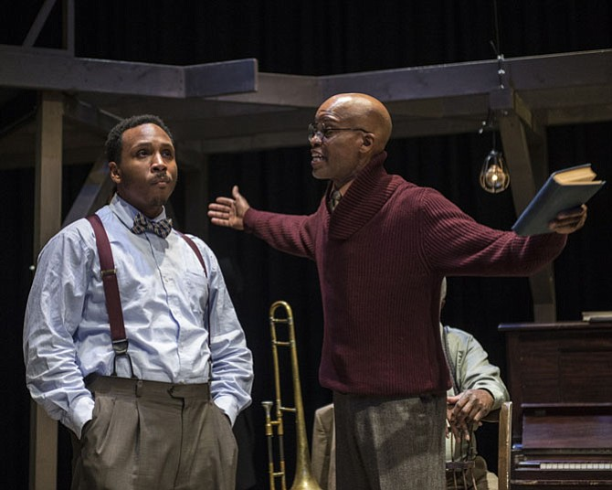 "From left: Clayton Pelham, Jr. and Michael Anthony Williams in ""Ma Rainey's Black Bottom"" at 1st Stage in Tysons."