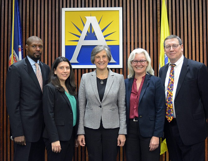 From left: School Board members James Lander, Tannia Talento, Nancy Van Doren (chair), Barbara Kanninen (vice chair), and Reid Goldstein.