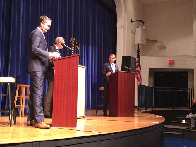 Lieutenant Governor Ralph Northam and former U.S. Rep. Tom Perriello (D-5) debate in Fairfax County.
