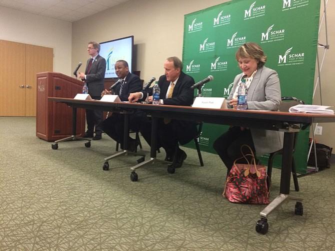 Justin Fairfax, Gene Rossi and Susan Platt debate at George Mason University.