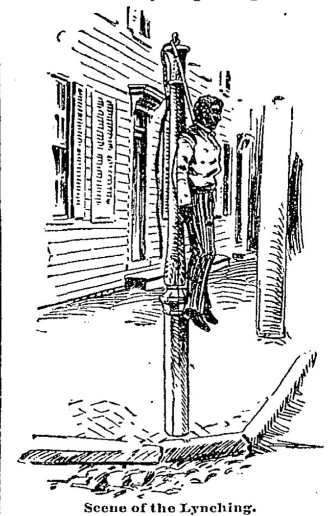 Sketch of a lynching in Old Town.