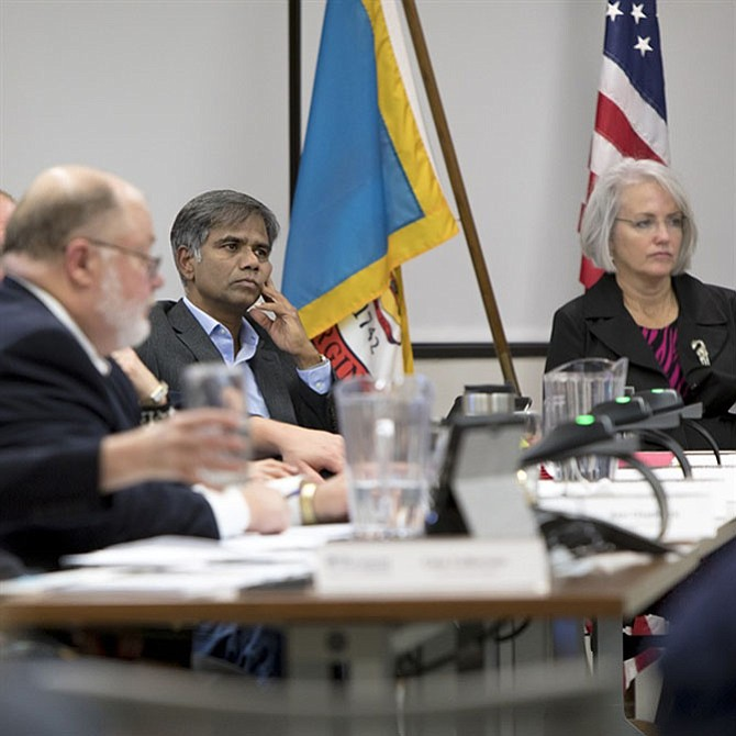 The Reston Association Board of Directors selected Sridhar Ganesan (center) as its new treasurer on Thursday, May 25. He replaced Dannielle LaRosa, former North Point District director, who resigned from the board in April and resigned from her position as treasurer in May.