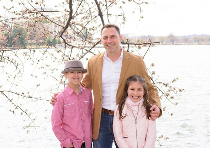 The most wonderful Dad, Michael, of Burke, and precious children, Noah and Selah enjoying the blossoms in D.C.