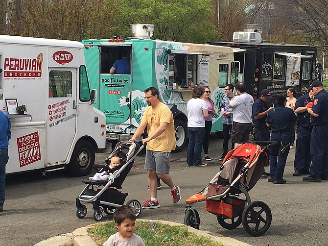 The Food trucks in Arlington are the main attraction at the Columbia Pike and Four Mile Run Drive on some Saturdays through October.