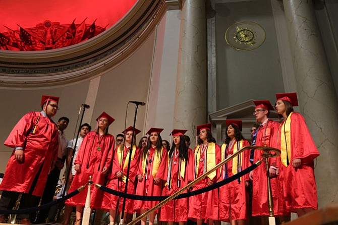 "The McLean Madrigals sing an a cappella version of ""My Heart's in the Highlands"" during the ceremony."