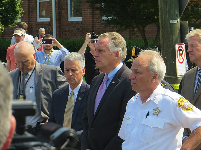 Gov. Terry McAuliffe (center) with Sheriff Dana Lawhorne (right)