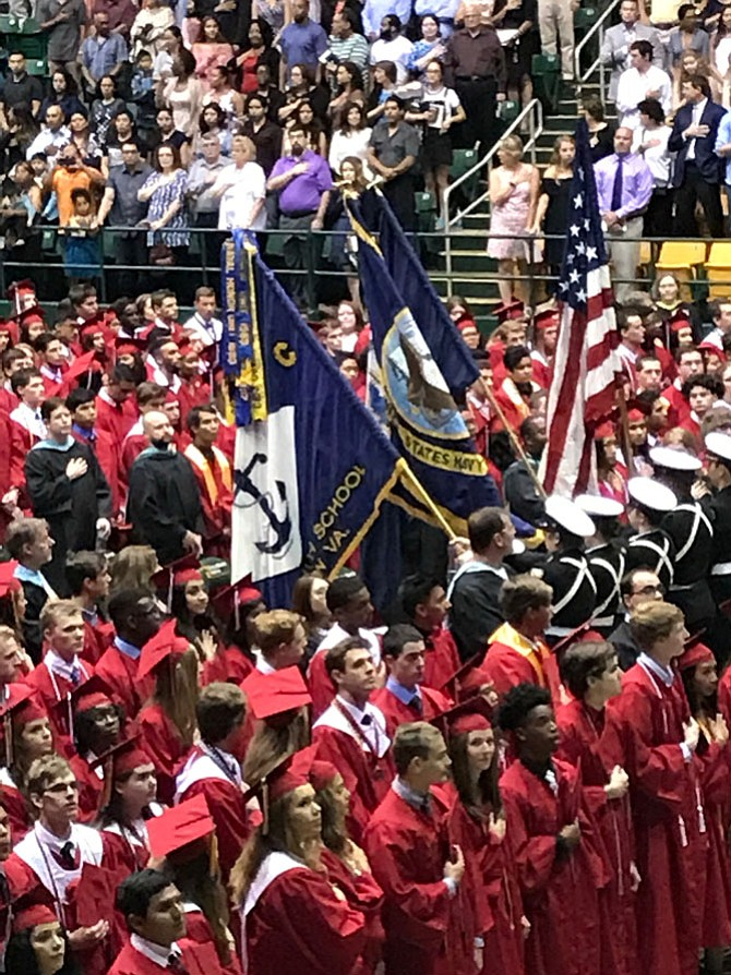 The Navy Junior ROTC Color Guard presented our nation's colors at the Herndon High School's Graduation Ceremony held Monday, June 20 at EagleBank Arena, George Mason University. Herndon graduated 426 students.