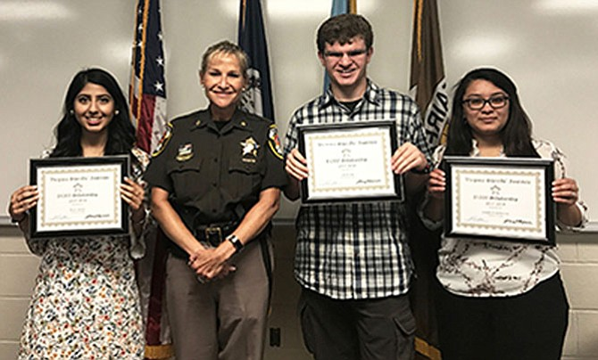 Sheriff Stacey Kincaid presented Virginia Sheriffs' Institute scholarships to three GMU students, Roya Ansary, Jenniffer Andino Cruz and Jack Katz. They are all residents of Fairfax County – Roya from Alexandria, Jenniffer from Centreville and Jack from Falls Church.