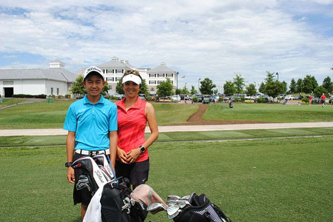 Kelly and his mother Eiko Chinn enjoy spending family time playing golf together.