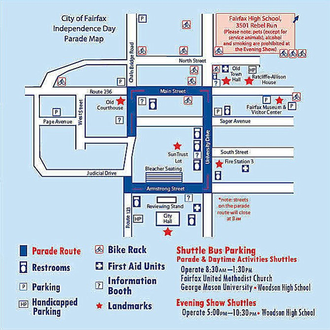 Official parade route and parking map.