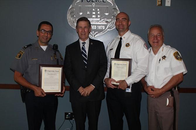 Deputy Chief Shahram Fard, U.S. Rep. Don Beyer (D-8), David Politz, and Sheriff Dana Lawhorne.