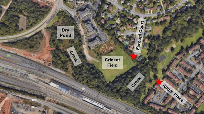 The designs contend with the existing conditions of the location: Two creeks that exists on both ends of the paths and the Dulles Greene cricket field that sits off Greene Drive in the middle.