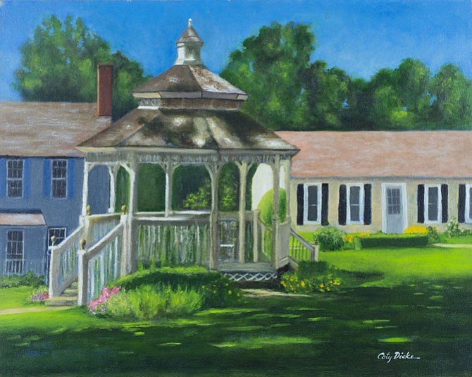 """Coty Dickson will display her oil paintings depicting """"Local Scenes We Love"""" during the month of July during normal business hours at Katie's Coffee House, Great Falls Village Centre, 760 Walker Road, Great Falls.  Visit oldbrogue.com/katies-coffee-house or call 703-759-2759 for details."""