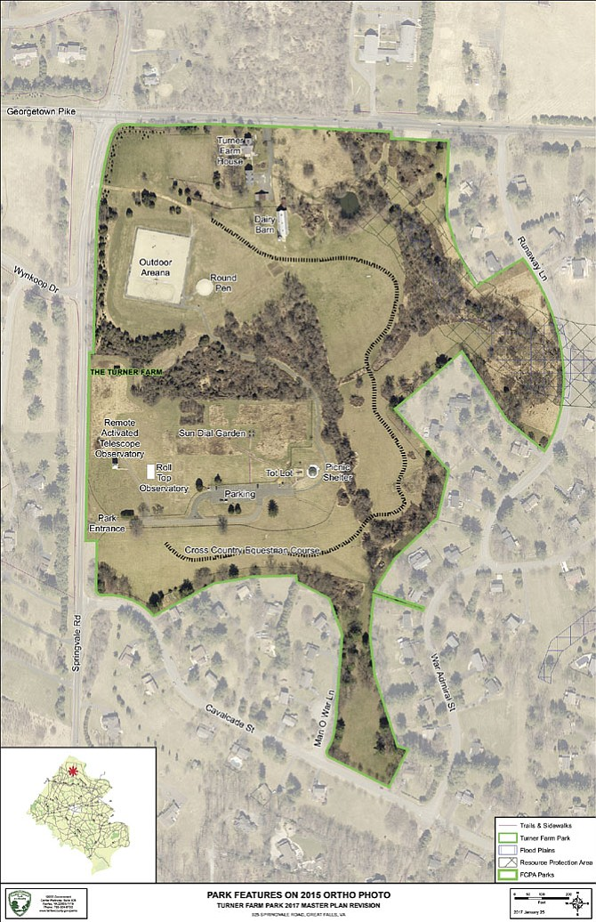 This aerial image of the layout of Turner Farm Park shows what currently exists on the site.