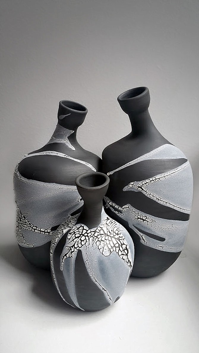 High-fire stoneware twining trio bottles by Polina Miller of Great Falls, Va.