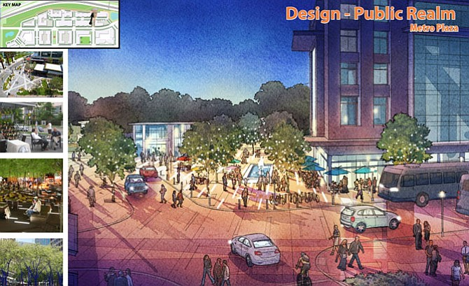 Artist rendering for Potomac Yard's Metro plaza.