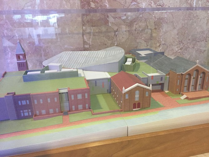 Model display for the expanded Alfred Street Baptist Church.