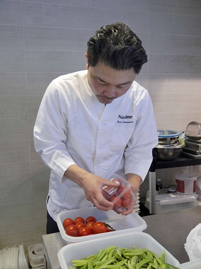 Yuh Shimomura says he does it all at Nasime, his Japanese restaurant, which opened on King Street in October 2016. He sets out the vegetables, plugs in the ice cream machine and sets the water boiling on the stove to begin prepping all five tasting dishes at the same time.