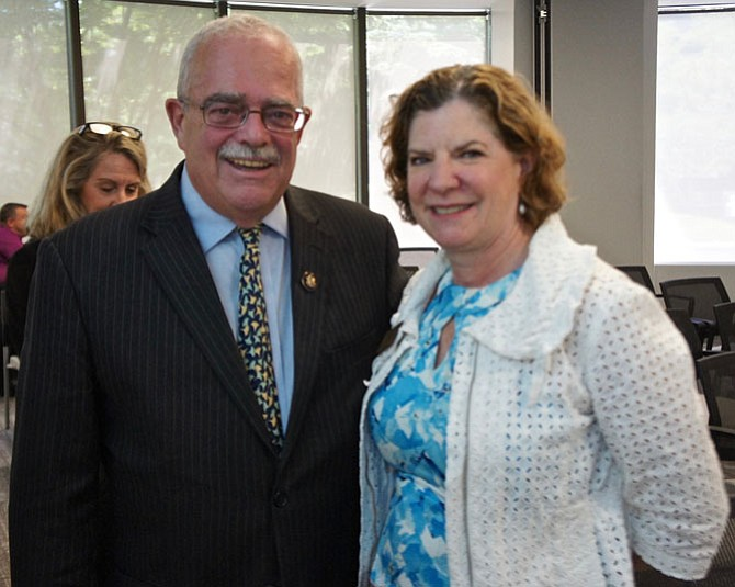 "U.S. Rep. Gerry Connolly with Toni Reinhart who is spearheading efforts to make Herndon the first ""Dementia Friendly Community"" in the Commonwealth, with education and training in real-life encounters and situations to make living with dementia easier on patients, caregivers, families and the community."