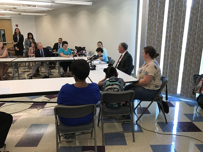 Sen. Tim Kaine (D-VA) speaks with concerned parents and doctors about what Medicaid cuts would mean for ordinary citizens.