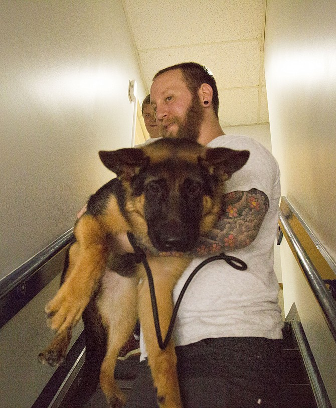 Steve Kowalski, KSR Pet Care's assistant trainer, carries Xena, a German shepherd puppy who is afraid of staircases, half-way down a staircase to work on walking down the steps during a group class on Saturday, July 8.