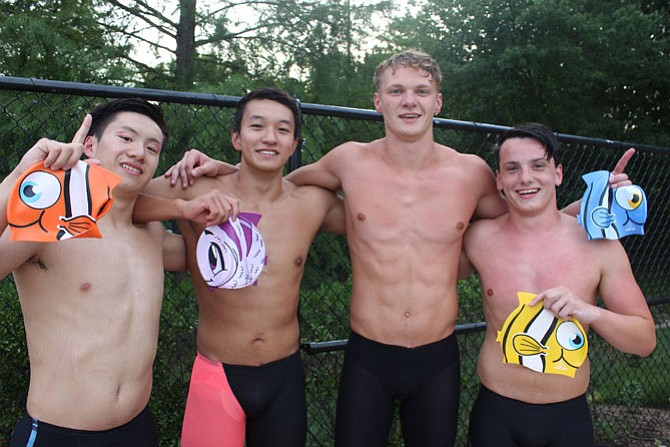 Boys 15-18 Medley and Free Relay records-setting Team: A. Arcomona, L. Wang, N. McGrath, and G. Eisenhart.