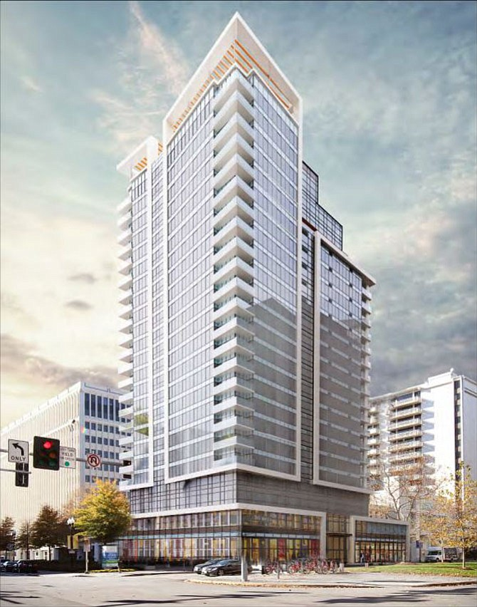 An apartment tower is planned for the heart of Crystal City.