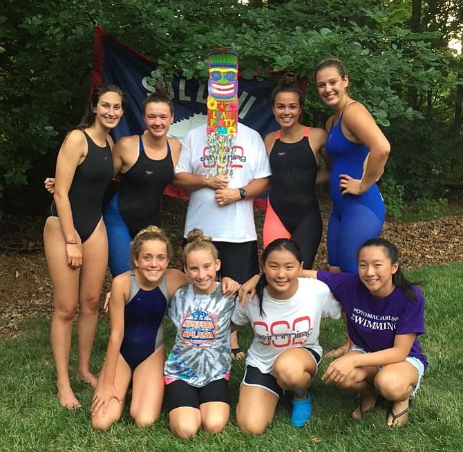 Piranhas had a successful Relay Carnival. Pictured are 15-18 girls Karenna Hall, Delaney Kennedy, Georgia Stamper, Carly Logan and 11-12 girls Callie Ver Planck, Hayley Norris, Angela Cai and Caroline Li.