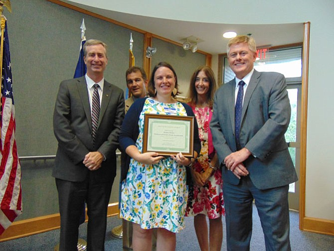 Meghan Walker of Springfield has been honored as Citizen of the Year in annual Best of Braddock Honors and Picnic on Wednesday, July 12. Pictured with Walker are David Bulova, Chap Petersen, Eileen Filler-Corn, and John Cook.