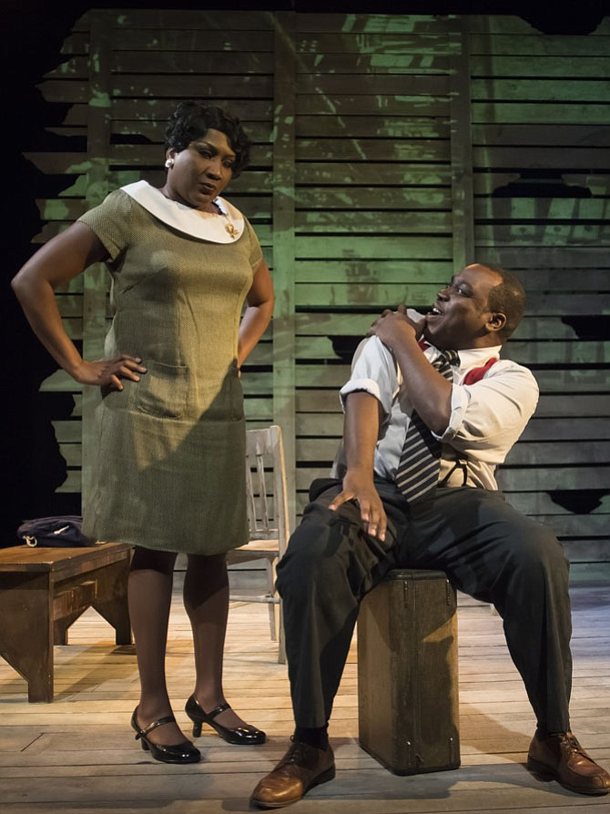 "Roz White plays the role of Mamie Till and Enoch King plays Emmett Till in ""Anne & Emmett,"" which will be presented for a limited engagement at MetroStage from July 28-30, 2017."