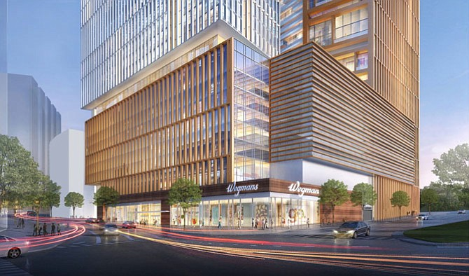 A Capital One Center and a large format retail space for a Wegmans Food Market were introduced as part of an amendment to the development's originally-approved plans.