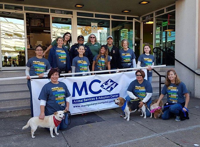 Montgomery County Animal Services and Adoption Center staff and volunteers at a Thanksgiving Day Parade.