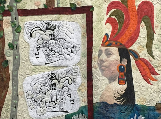 """Princess Nicte-Ha,"" a cotton, polyester and textile paint work by Marisela Rumberg will be part of the Art Quilts Exhibit running Aug. 9-Sept. 3 at the Workhouse Arts Center, 9601 Ox Road, Lorton. Rumberg will be at the studio for a ""Meet the Artist Reception,"" noon-3 p.m. Saturday, Aug. 13. Visit www.MariselaRumberg.com for more."