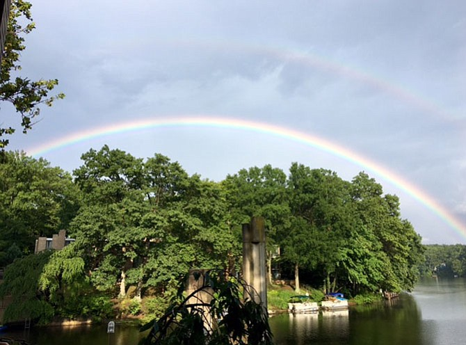 Double Rainbow over Lake Anne at 6 p.m. on Sunday, July 23.