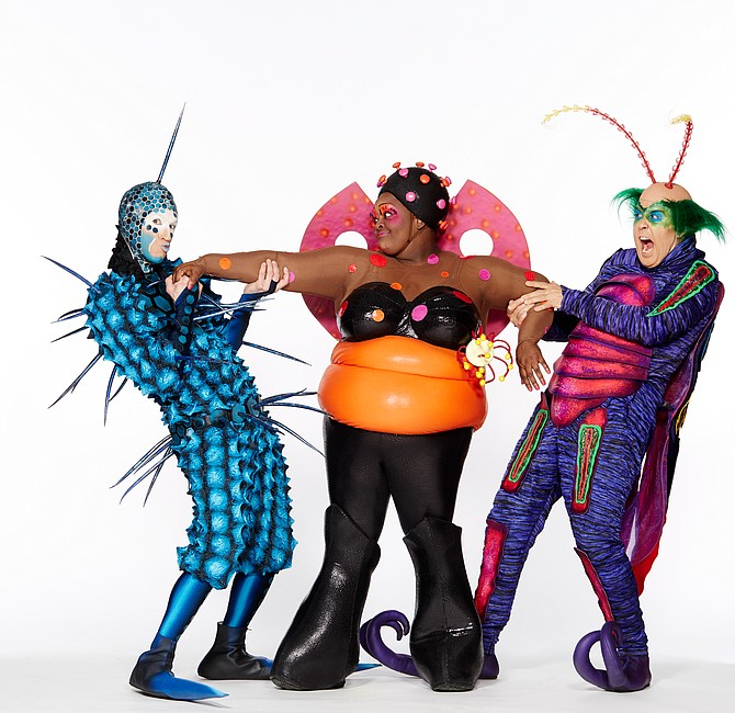 """Cirque du Soleil's """"OVO"""" – Main characters, from left: The Foreigner, Ladybug, and Master Flipo."""