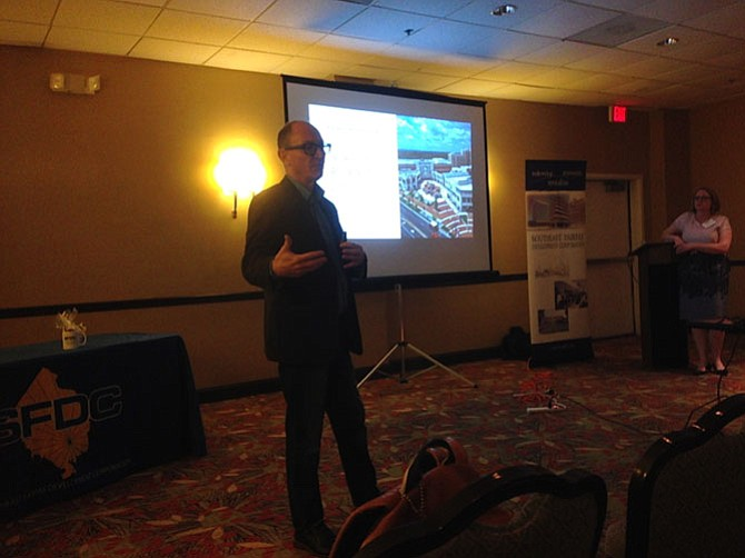 Bruce Leonard of Streetsense addresses the Southeast Fairfax Development Corporation