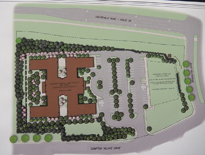 Site plan of the Arden Courts memory-care facility proposed for Centreville's Compton Village community.