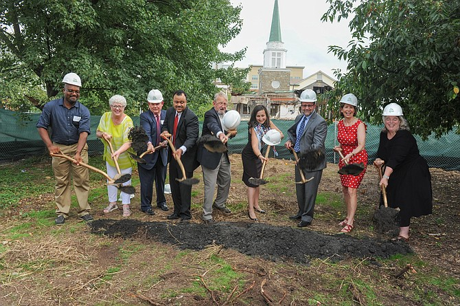 APAH, APC, Katie Cristol, vice chair of the Arlington County Board, and project financial partners from VHDA, Capital One, and Enterprise Community Partners break ground on the Gilliam Place project.